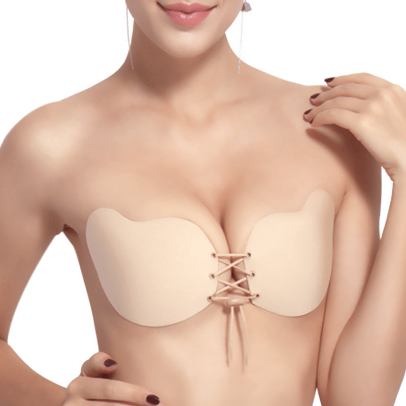 Drawstring Insivible Fabric Push Up Adhesive Bra - Niidor
