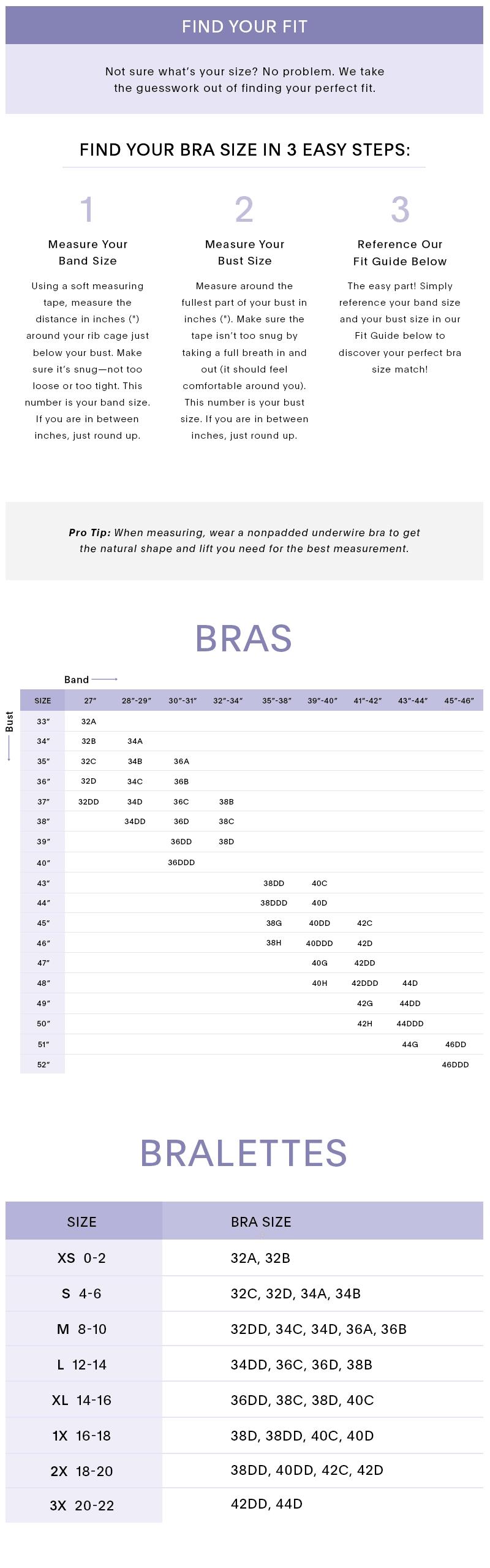 Seamless Bra Size Chart 0