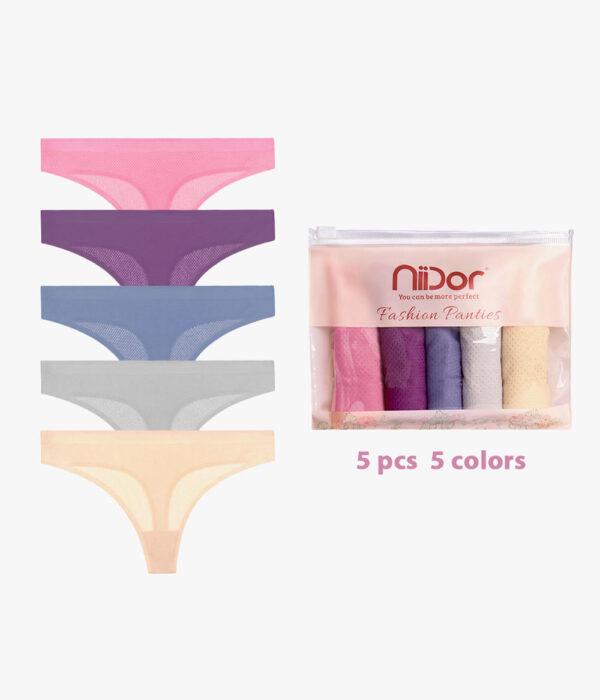 Women Breathable Thongs Seamless Underwear (5 Pack)